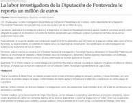 The researching task of the Diputación de Pontevedra brings a million euros