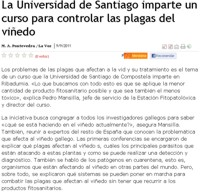 The University of Santiago organizes a course to control pests in the vineyards