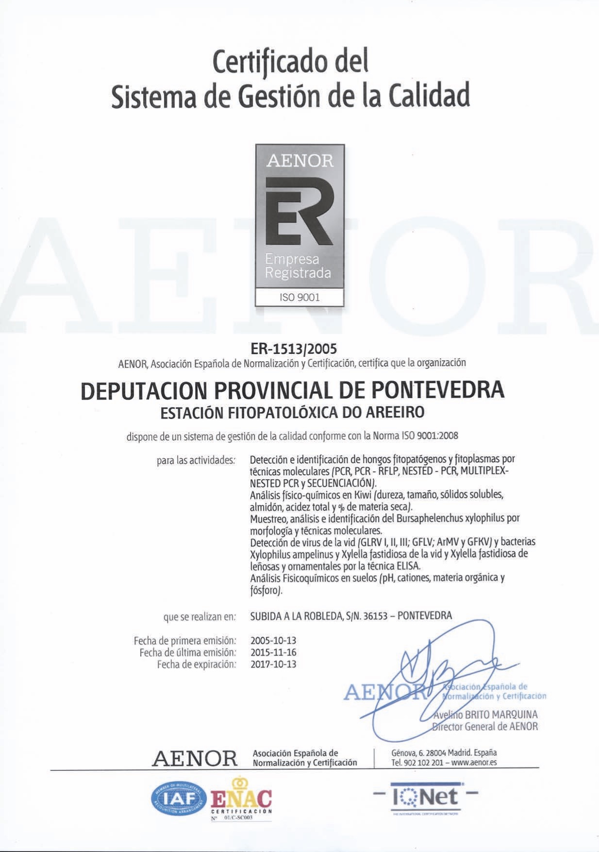 AENOR register certificate